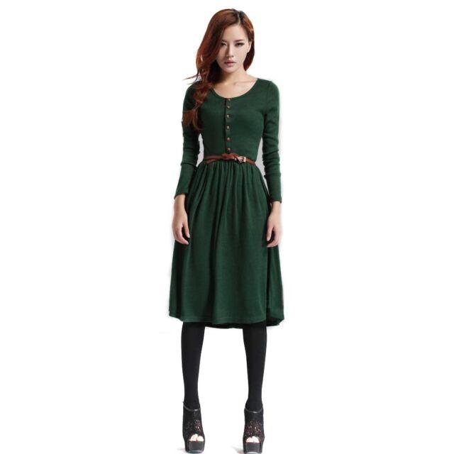 Women Autumn Winter Knit Long Sleeve Round Neck Sweater Slim Dress With Belt