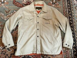 VTG Timberland Mens Large Tan Canvas Field Jacket Barn Coat Corduroy Lining