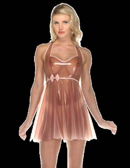 Latex Rubber Gummi Catsuit Sexy Transparent Dress bowknot
