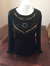 H&M Black And Gold Bead Top L