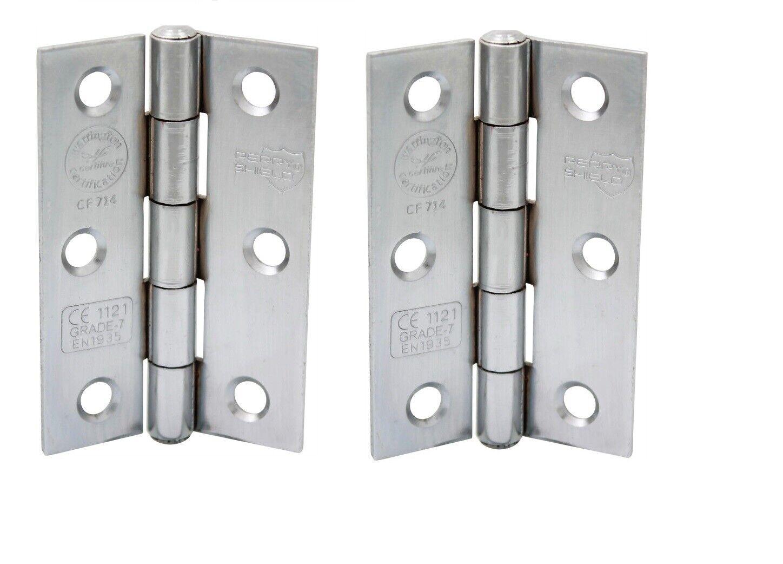 Perry 75MM Satin Chrome Shield Grade CE7 Certifire Fire Door Butt Hinges D3