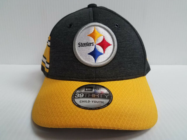 YOUTH Pittsburgh Steelers Cap New Era 39Thirty Stretch 2018 Home Sideline  Hat 2b6a50ef0ff