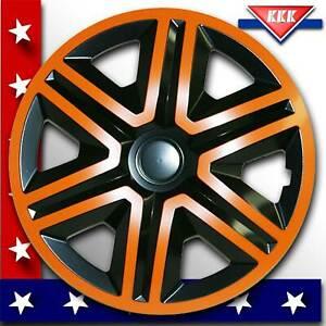 4-Radblenden-Radkappen-16-Zoll-orange-schwarz-Perfekt-fuer-schwarze-Autos