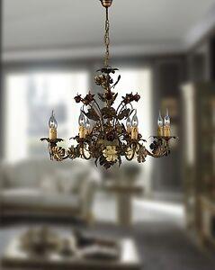 Lampadario ferro battuto con rose plafoniera sospensione 8 for Mercatone uno lampadari ventilatori