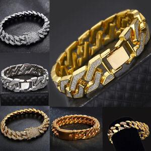 Men-039-s-Heavy-Solid-Stainless-Steel-Curb-Chain-Bracelet-Sand-Blast-Bangle-Men-Gift