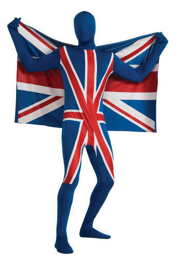 Adults/' 2nd Skin Union Jack Lycra Bodysuit Fancy Dress Costume