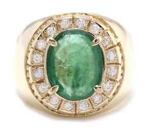 5-50-Quilate-Natural-Zambia-Esmeralda-Diamantes-14K-Oro-Amarillo-Macizo-Hombres