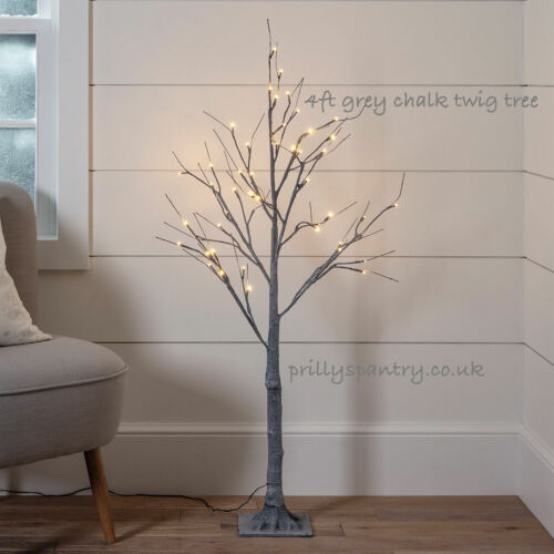 125cm 4ft LIGHT UP GREY CHALK TWIG TREE 48 LED PRE LIT TWIG TREE IN//OUTDOORS