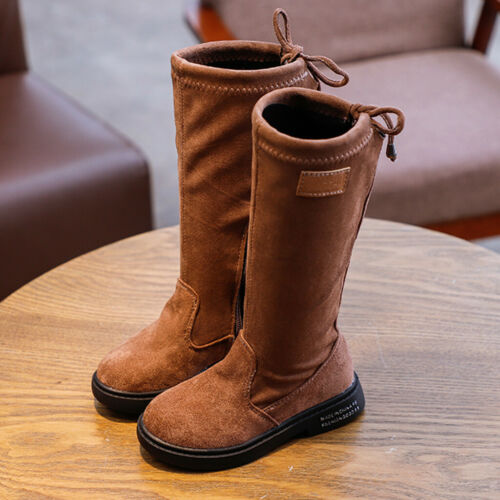 Toddler Kids Children Baby Boys Girls Flock Long Winter Warm Outdoor Shoes Boots
