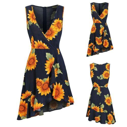 Women Sleeveless Dress Sunflower Print Surplice Asymmetric Zipper Wrap Dress  CL