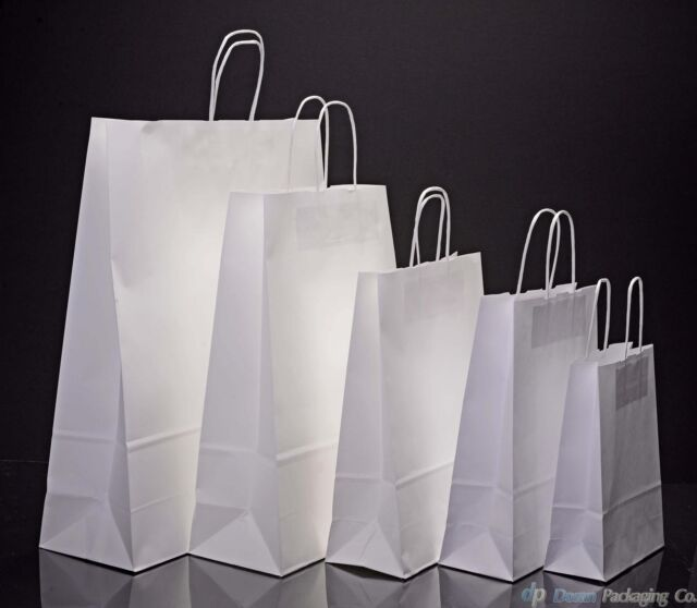 White Kraft Twisted Handle Paper Carrier Bags
