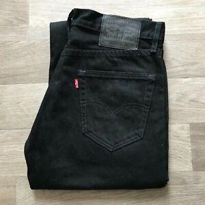 Men-039-s-LEVI-039-S-505-Coupe-Droite-Noir-Jeans-W31-L32-A957