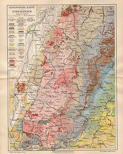 Karte Schwarzwald Zum Ausdrucken.Details Zu Geologische Karte Schwarzwald Freiburg Geologie Villingen Feldberg Von 1897