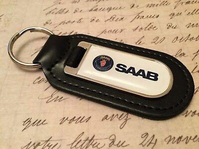 Echtes Leder Schlüsselanhänger Saab Qualität Schwarz