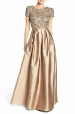 14 ADRIANNA PAPELL Antique Bronze Beaded Bodice Taffeta Cap Sleeve Gown NWT $329