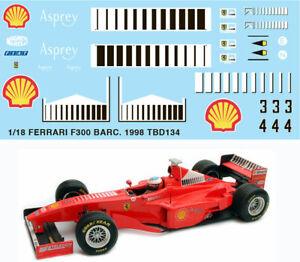 1/18 Ferrari F300 Barcode Michael Schumacher 1998 Decals Tb Decal Tbd134 Emballage De Marque NomméE