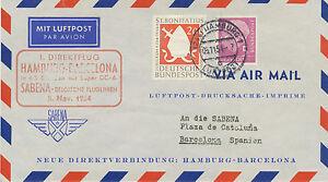 "Germany 1954 First Flight Sabena ""Hamburg – Barcelona"" (SABENA 1923-2001), R!"