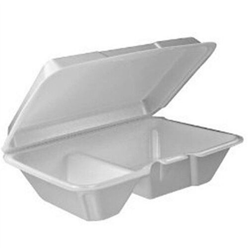 Dart 205HT2 9x6x3-Inch Performer White Two Compartment Foam Container with a Re