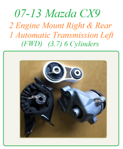 07-13 Fit Mazda CX9 3.7v6 Engine Motor Front Right /& Rear FWD Auto Trans Mount
