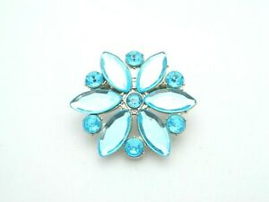 Blue-Plastic-Rhinestone-Flower-Silver-Tone-Pin-Brooch-Pendant-Vintage-Style