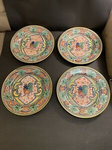Williams-Sonoma-ALHAMBRA-Set-Of-4-Dinner-Plates-12-5-Hand-Painted-Portugal-Rare