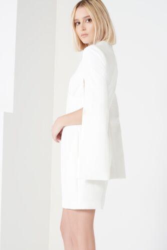 New Off White Wrap Detail Split Sleeve Bodycon Mini Dress Women Size 6-14