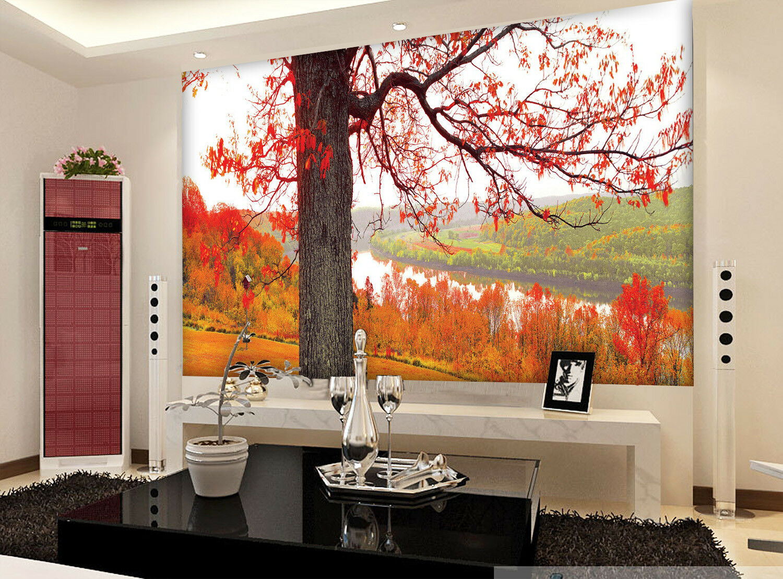 3D Herbst Wald Landschaft 9793 Tapete Wandgemälde Tapeten Bild Familie DE Lemon