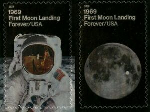 Apollo-11-Moon-Landing-50-years-mint-self-adhesive-pair-of-stamps-2019-USA