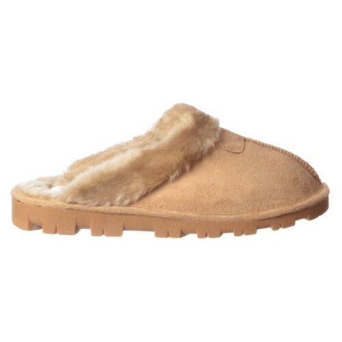 Femme filles de luxe doublé de fourrure à enfiler mule pantoufles résistante semelle marron sable