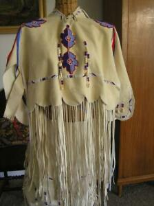 Native-American-Commanche-Oklahoma-Regalia-Beaded-Dress-Doeskin-traditional-XS