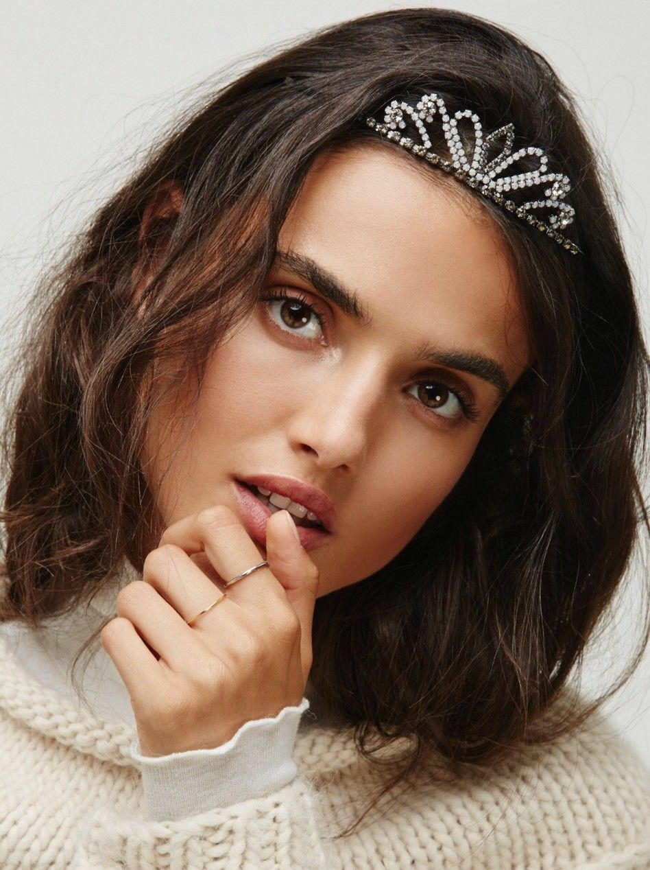 Free People Black White Rhinestone Shimmer Tiara Hair Accessory