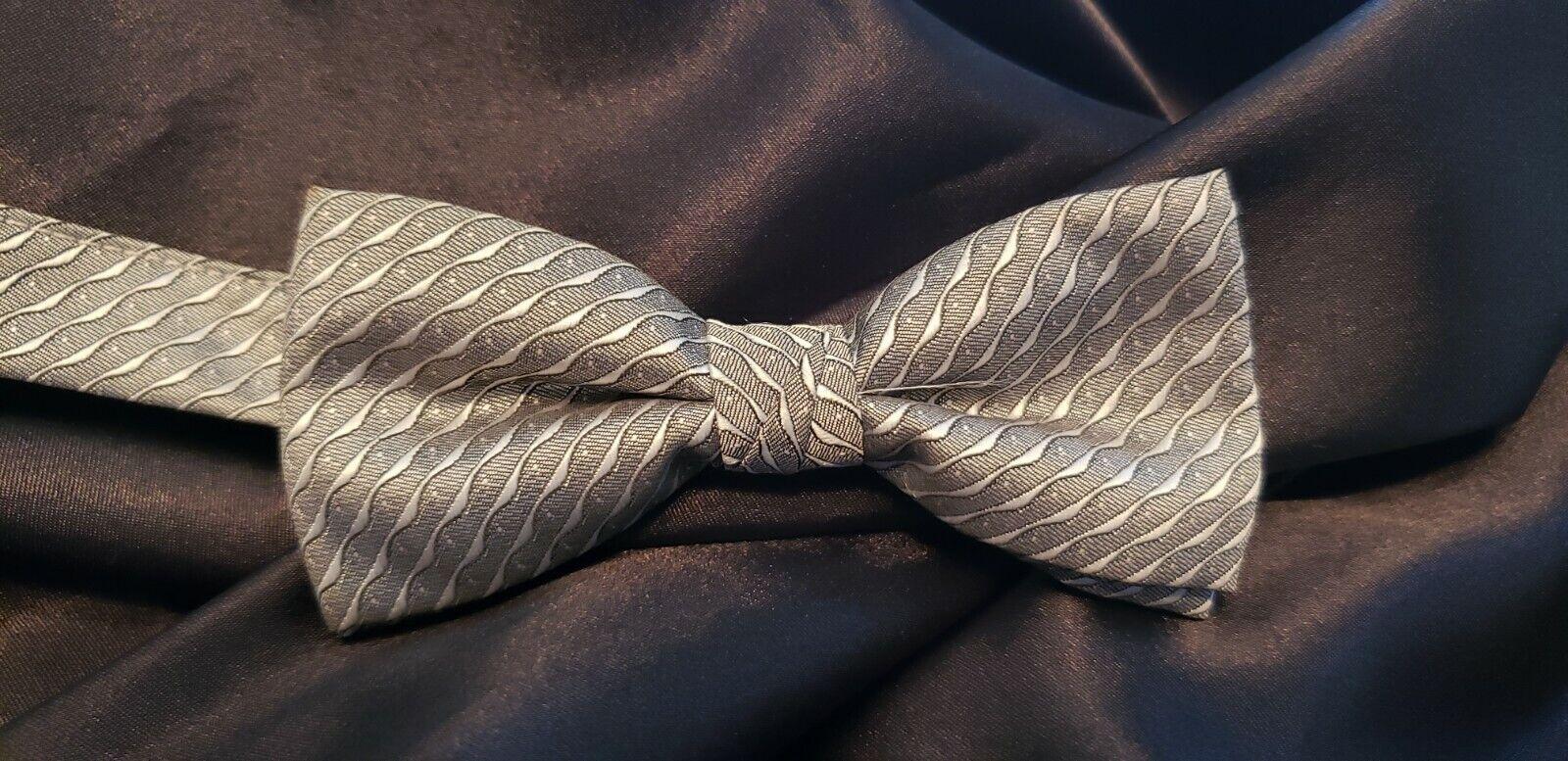 Men's Silver Bow Tie Tuxedo Pre Tied Formal Tux Shirt TUXXMAN