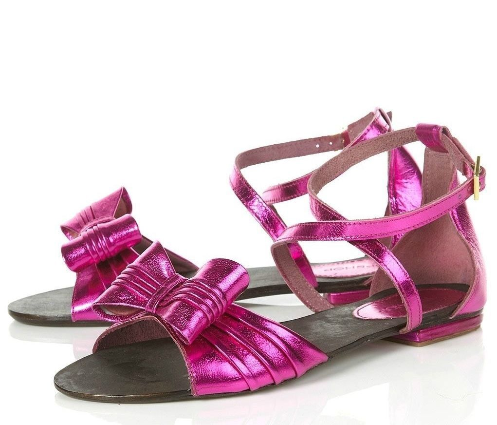 TOPSHOP PINK METALLIC GENUINE LEATHER FLAT SANDALS Schuhe WITH BOW NEU