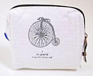 Monedero-mujer-blanco-con-bici-nuevo-cuadrado-con-cremallera-algodon-forrado