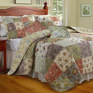 King-size-100-Cotton-Floral-Quilt-Set-with-2-Shams-and-2-Pillows