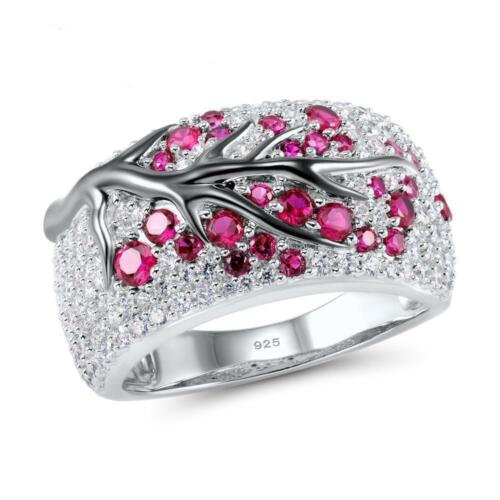 Luxury Plum Branch 925 Silver Ruby /&White Topaz Ring Cocktail Party Jewelry