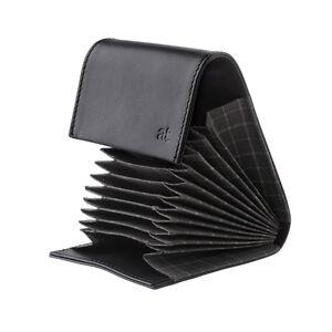 ANTICA TOSCANA Porta carte di credito a Fisarmonica in Pelle Nero da 11 slot