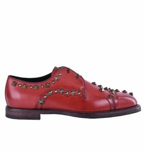 Dolce-amp-Gabbana-034-Marsala-034-Derby-Chaussures-avec-rivets-amp-strass-rouge-shoes-04666