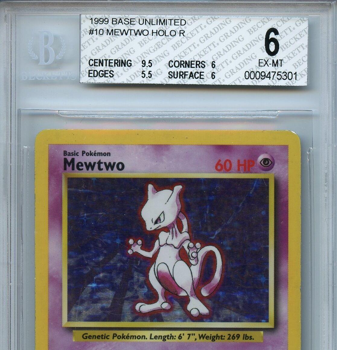 Mewtwo Pokemon Base Unlimited Variant Variant Variant BGS 6 EX-MT+  Holo Card Error 5301 46df57