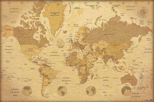 Poster Mapa Del Mundo Vintage Ebay