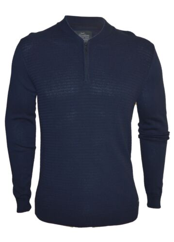 Mens Thin Knit Jumper With Zip Fastening 100/% Cotton Pullover Sweater Crew Neck