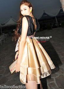 Black-Lace-Top-w-Gold-Ruffle-Layer-Bubble-Cocktail-Party-Races-Cute-Dress-1804