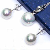 8-10mm White Pearl .925 Sterling Silver Earrings & Pendant Set Free Chain on sale