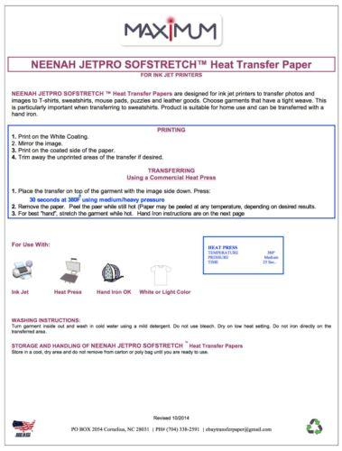 "200 Sheets Neenah JetPro Soft Stretchy Inkjet IronOn Transfer Paper 8.5/"" x 11/"""