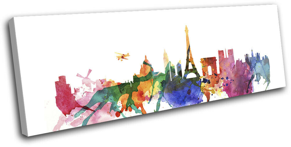 Paris Watercolour Style Abstract City SINGLE TOILE murale ART Photo Print