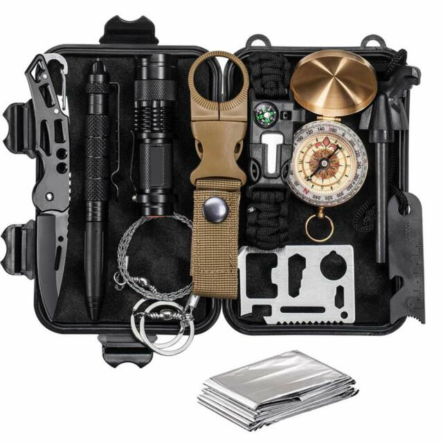 12 in 1 SOS Emergency Camping Survival Equipment Kit Outdoor Tactical Gear