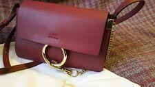 Chloé Faye Mini Wallet On Strap Dark red/ Burgundy bag
