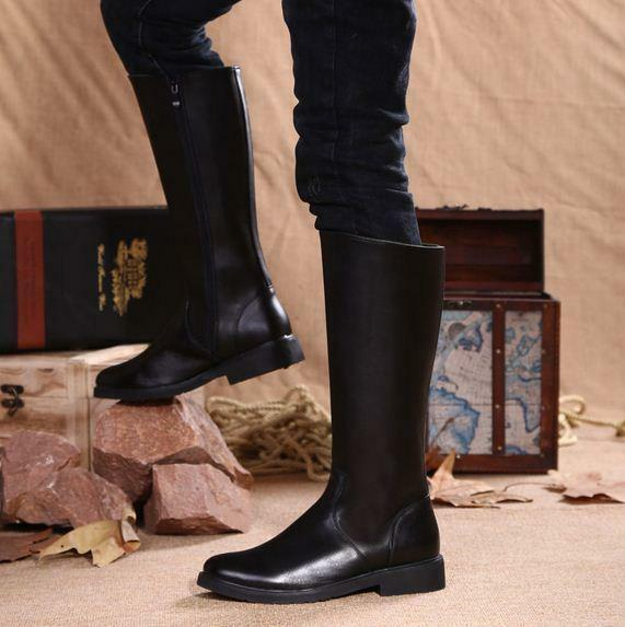 New Mens leather high top riding equestrian zip up knee boots winter fur lined