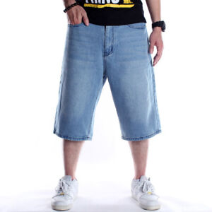 Mens-Jeans-Shorts-Denim-Capri-Pants-Baggy-Relaxed-Hip-Hop-Hipster-Loose-W30-W46