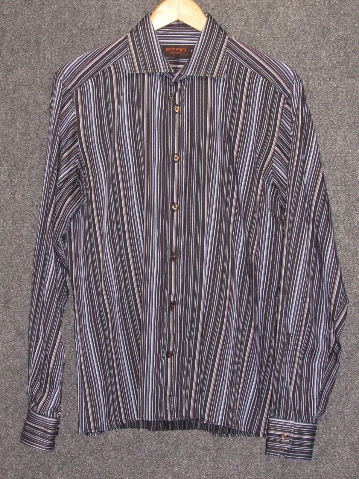 ETRO colorful greenical Striped Pattern Long Sleeves Shirt SZ 41